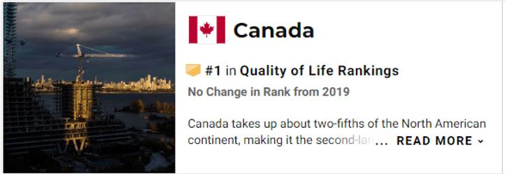 逆天!全球排名,加拿大优质生活质量连续5年位列第一!